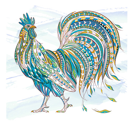 Patterned rooster on the grunge background. Symbol of chinese new year  African  indian  totem  tattoo design. It may be used for design of a t-shirt, bag, postcard, a poster and so on.
