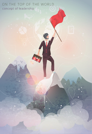 Concept of leadership / man on the top of mountain with flag in his hand / winner / illustration