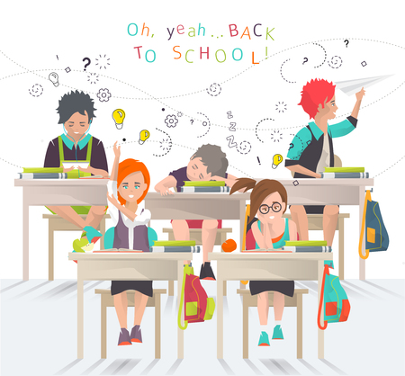 pupils: Modern illustration   back to school concept   classroom with pupils