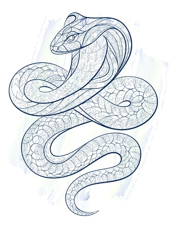 a snake in a bag: Patterned snake cobra on the grunge background. African  indian  totem  tattoo design. It may be used for design of a t-shirt, bag, postcard, a poster and so on.