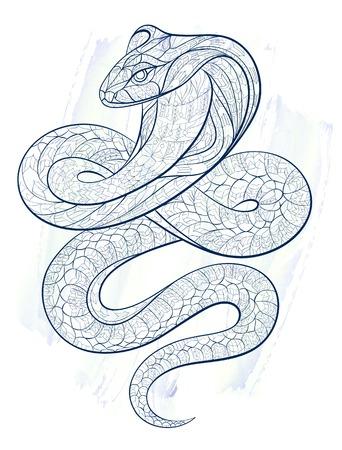Patterned slang cobra op de grunge achtergrond. Afrikaanse / Indiase / totem / tattoo ontwerp. Het kan worden gebruikt voor het ontwerp van een t-shirt, tas, briefkaart, een poster en ga zo maar door.