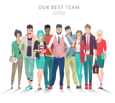 モダンなイラストさまざまなアクション、気持ちや感情を持つビジネス人々 のセット創造的な男性と女性事務所チームウェブサイトやバナーの使