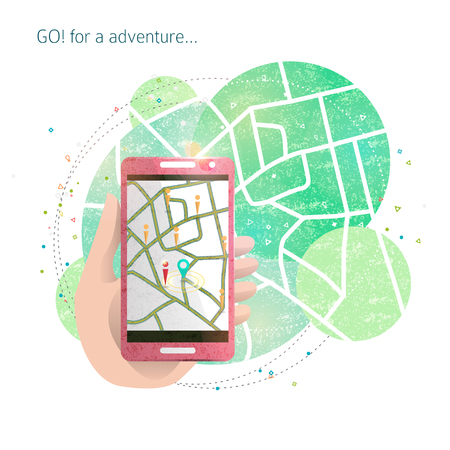 Hand with mobile phone / Game locations / navigation / maps / Search hidden items and get bonuses / simulation of reality. Concept illustration Vektorové ilustrace