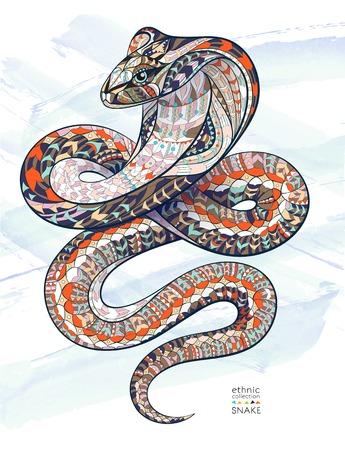 Patterned slang cobra op de grunge achtergrond. Afrikaanse  Indiase  totem  tattoo ontwerp. Het kan worden gebruikt voor het ontwerp van een t-shirt, tas, briefkaart, een poster en ga zo maar door.