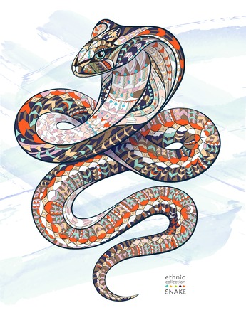 Patterned snake cobra on the grunge background. African  indian  totem  tattoo design. It may be used for design of a t-shirt, bag, postcard, a poster and so on.