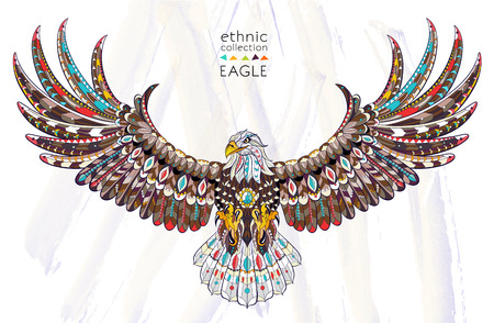 Patterned flying eagle on the watercolor background. African / indian / totem / tattoo design. It may be used for design of a t-shirt, bag, postcard, a poster and so on. Illustration