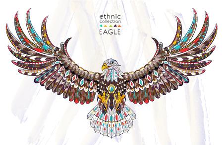 Wzorzyste orła w locie na tle akwareli. Afrykański / indian design / totem / tatuaż. Może być stosowany do projektowania t-shirt, torby, pocztówka, plakat i tak dalej. Ilustracje wektorowe