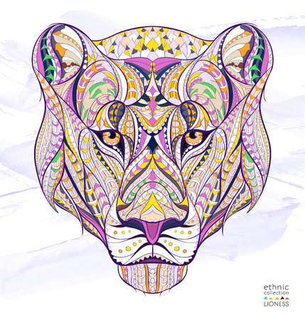 celtic tattoo: Patterned head of the lioness on the grunge background. African  indian  totem  tattoo design. It may be used for design of a t-shirt, bag, postcard, a poster and so on. Illustration