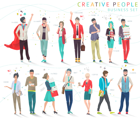 Set of business people with different actions, feelings and emotions  creative men and women