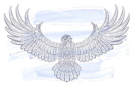Modelado de vuelo águila en el fondo de la acuarela. África / diseño indio / tótem / tatuaje. Se puede utilizar para el diseño de una camiseta, bolsa, tarjeta postal, un cartel y así sucesivamente. Ilustración de vector