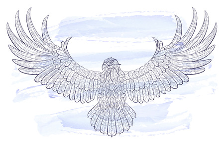 tattoo design: Patterned flying eagle on the watercolor background. African  indian  totem  tattoo design. It may be used for design of a t-shirt, bag, postcard, a poster and so on.
