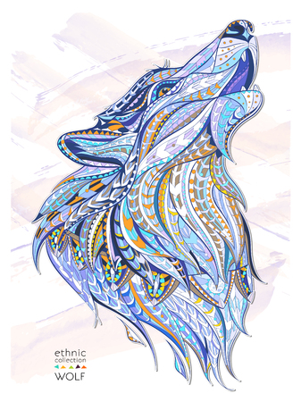 Patterned head of the howling wolf on the grunge background. African  indian  totem  tattoo design. It may be used for design of a t-shirt, bag, postcard, a poster and so on. Ilustracja