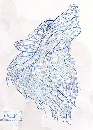 Patterned head of the howling wolf on the grunge background. African / indian / totem / tattoo design. It may be used for design of a t-shirt, bag, postcard, a poster and so on.  イラスト・ベクター素材