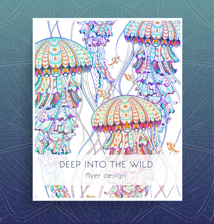 Flyer template with patterned jellyfish. Poster with medusa. Tattoo design. It may be used for design of a t-shirt, bag, postcard, a poster, brochure and so on. Illustration