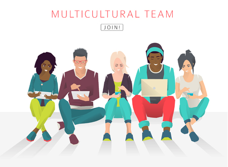 african solidarity: International multicultural team. Modern society concept of friendship. Diversity. Group of international students. Vector flat illustration.