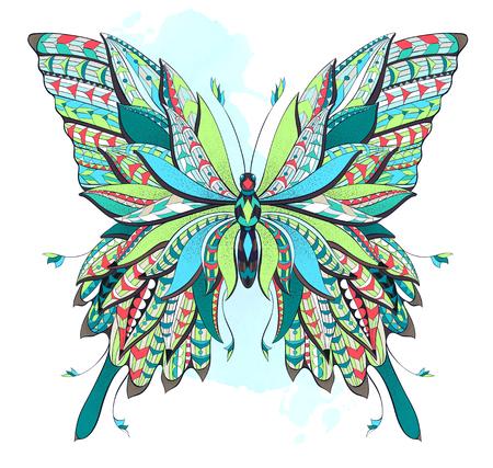 グランジ背景に模様の蝶。華やかな蛾。パピヨン。タトゥーのデザイン。T シャツ、バッグ、ポストカード、ポスターのデザインなどなど使用する可