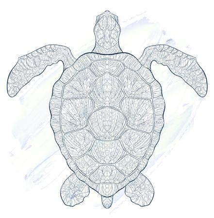 그런 지 배경에 거북이 무늬. 화려한 파충류. 근속 기간의 상징. 문신 디자인. 그것은 티셔츠, 가방, 엽서, 포스터 등의 디자인에 사용될 수 있습니다.
