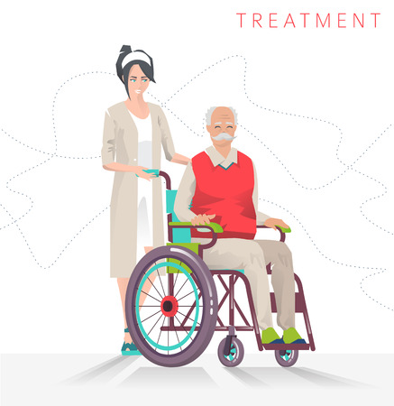 Concept of  person disability. Senior disabled man in wheelchair and social worker. Illustration