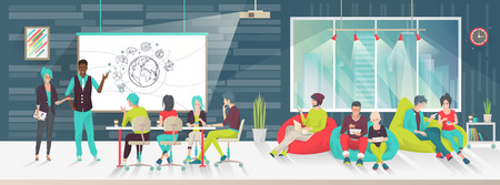 office presentation: Concept of big art space. Art people work together in coworking place. Business meeting. Multicultural team. Art office. Discussion, presentation, design,  lounge, meeting. Vector flat illustration.