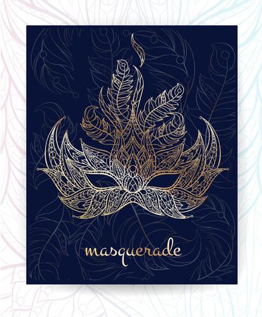 celtic background: Patterned mask. Mardi Gras festival. Broshure, poster, flyer template. Illustration