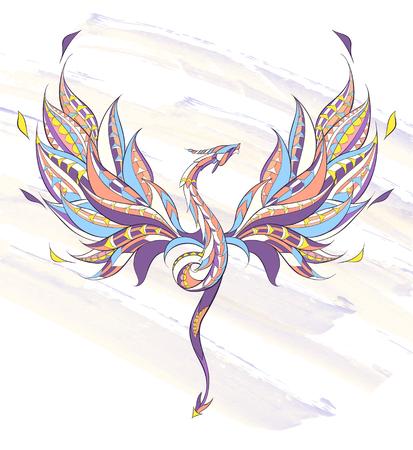 Dragon volant à motifs sur fond grunge. Reptile. Conception de tatouage. Il peut être utilisé pour la conception d'un t-shirt, d'un sac, d'une carte postale, d'un poster, etc. Banque d'images - 74424523