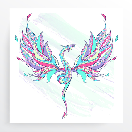 Patterned flying dragon on the grunge background. Poster with reptile. Tattoo design. It may be used for design of a t-shirt, bag, postcard, a poster and so on. Illustration