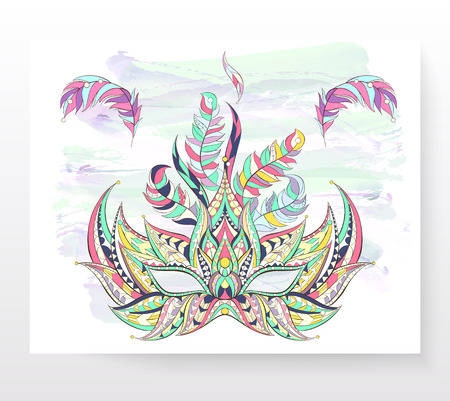 Patterned mask on the grunge background. Mardi Gras festival. Tattoo design.