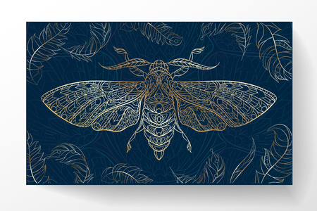 Hawkmoth. Patterned moth on the grunge background. Ornate butterfly. Papillon. Tattoo design. It may be used for design of a t-shirt, bag, postcard, a poster and so on.