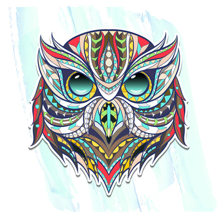 Patterned head owl on the grunge background. Tattoo design. It may be used for design of a t-shirt, bag, postcard, a poster, coloring book and so on. Illustration