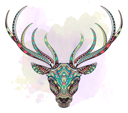 Patterned head of the deer on the grunge background. African, indian, totem, tattoo design. It may be used for design of a t-shirt, bag, postcard and so on.