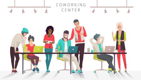Concepto del centro de coworking. Reunión de negocios. Equipo multicultural. Entorno de trabajo compartido. Gente hablando y trabajando en las computadoras en la oficina de espacio abierto. Diseño plano.