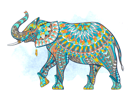 Patterned elephant on the grunge background. African, tattoo design.