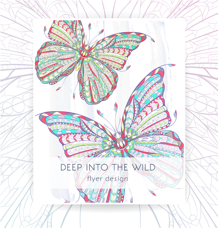 Flyer template with patterned butterflies. Poster with ornate moth. Papillon. Tattoo design. It may be used for design of a t-shirt, bag, postcard, a poster, brochure and so on.