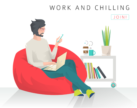 Young man sits on bean bag with different gadgets. Work and chill. Modern flat vector illustration