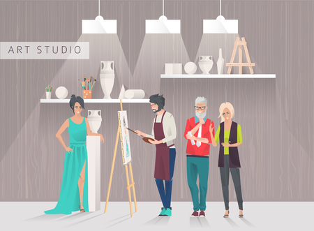 sitter: Art studio concept. Students study to draw sitter and paintings in art room. Workshop. Art critics. Vector flat creative illustration.