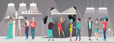 Art studio and Photostudio concept. Reporter and cameraman take interview. Photograph takes picture of Model. Artists and Art critics. Vector flat creative illustration.