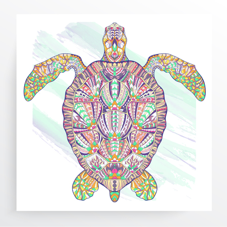 Patterned turtle on the grunge background. Poster with reptile. Tattoo design. It may be used for design of a t-shirt, bag, postcard, a poster and so on.