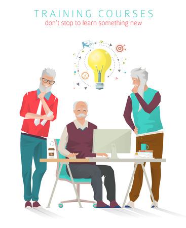 Concept trainingen voor alle leeftijden. Nog nooit te laat om iets nieuws te studeren. Senior man uitvinden en creëren. Vector illustratie.
