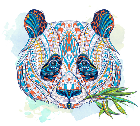 Patterned head of panda on the grunge background. African / indian / totem / tattoo design. It may be used for design of a t-shirt, bag, postcard, a poster and so on. Çizim