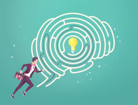 Concetto di business di ricerca migliore soluzione. Uomo d'affari che attraversa il suo labirinto del cervello per trovare l'idea. Illustrazione piatta vettoriale. Vettoriali