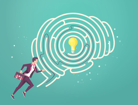 Business concept of searching best solution. Businessman running through his brain maze to find idea. Vector flat illustration.