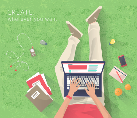 wherever: Concept of working at the park. Relaxation. Work wherever you want with pleasure. Creating ideas. E-learning. Freelance. Flat vector illustration. Illustration