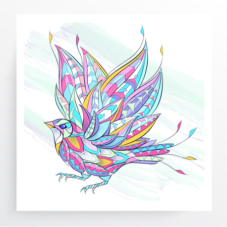 heaven background: Patterned flying bird on the grunge background. Poster with little bird. Tattoo design. It may be used for design of a t-shirt, bag, postcard, a poster and so on. Illustration