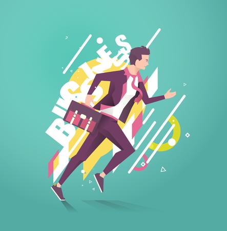 Concepto de negocio de empresario corriendo. Tipografía. Elementos geométricos del estilo. Vector ilustración plana. Ilustración de vector