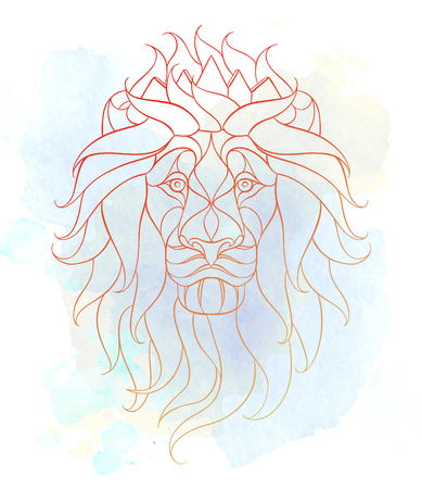 lioness: Patterned head of the lion on the grunge background. Leo with crown. African,  indian, totem, tattoo design. It may be used for design of a t-shirt, bag, postcard, a poster and so on. Illustration