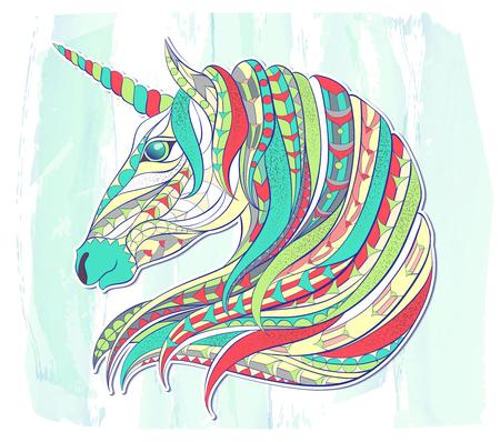 Gepatenteerd hoofd van de eenhoorn op de grunge achtergrond. Ruimtepaard. Tattoo ontwerp. Het kan gebruikt worden voor het ontwerpen van een t-shirt, zak, briefkaart, een poster, kleurboek enzovoort.
