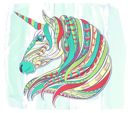 Patterned head of the unicorn on the grunge background. Space horse. Tattoo design. It may be used for design of a t-shirt, bag, postcard, a poster, coloring book and so on. Ilustração