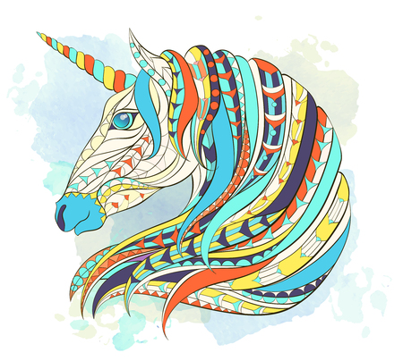 Patterned head of the unicorn on the grunge background. Space horse. Tattoo design. It may be used for design of a t-shirt, bag, postcard, a poster, coloring book and so on. Иллюстрация