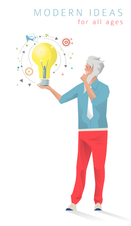 business ideas: Vector business concept. Senior man think and create. Ideas. Education for all ages.