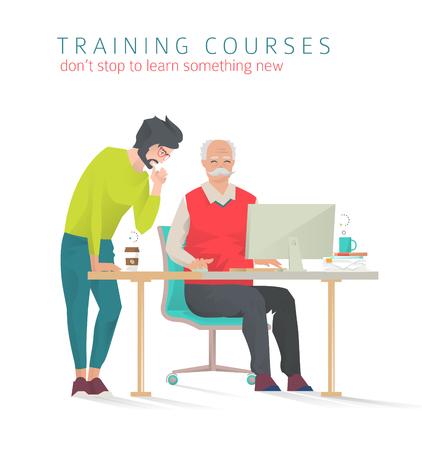 Concept trainingen voor alle leeftijden. Nog nooit te laat om iets nieuws te studeren. Jonge man trein en help senior man of vice versa. Vector platte illustratie.